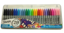 NEW Sharpie Pens 28 Pack Fine Permanent Markers Limited Edition Set FREE P&P UK